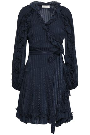 ZIMMERMANN Ruffled silk-jacquard mini wrap dress