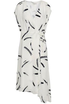 JOIE Printed silk crepe de chine wrap dress