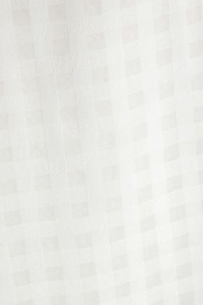 IRIS & INK ラップ風 ギンガム ジャカード ミディワンピース