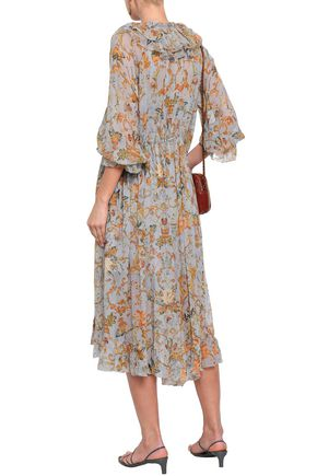 ZIMMERMANN Ruffled floral-print silk-georgette midi dress