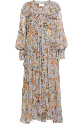 ZIMMERMANN Ruffled floral-print silk-georgette midi dress