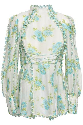 ZIMMERMANN Embellished linen and silk-blend gauze blouse