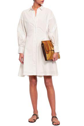 JOIE Darcila button-detailed cotton-poplin mini shirt dress