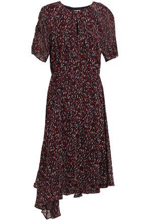 JOIE Asymmetric printed silk-georgette dress