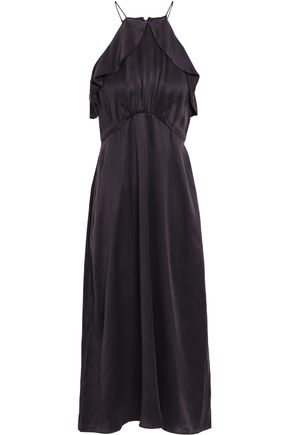 ZIMMERMANN Ruffled silk-satin halterneck midi dress