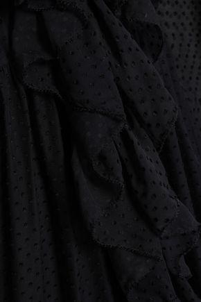 ZIMMERMANN Ruffled flocked silk-blend voile midi skirt