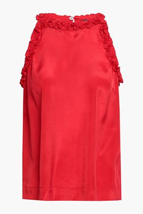 RAOUL Ruffle-trimmed sateen top