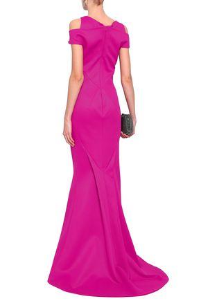 ZAC POSEN Cold-shoulder fluted piqué gown
