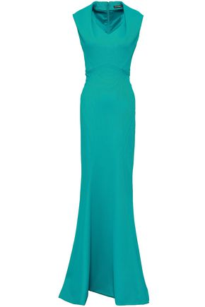 ZAC POSEN Fluted textured-cady gown