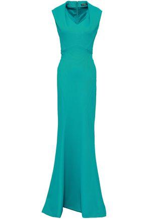 ZAC POSEN Fluted piqué gown