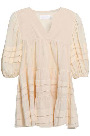 ZIMMERMANN Pleated cotton-gauze blouse
