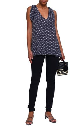 ZIMMERMANN Bow-detailed polka-dot crepe top