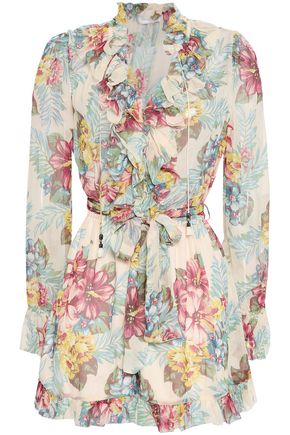 ZIMMERMANN Floral-print silk-georgette playsuit