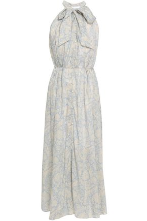 ZIMMERMANN Pussy-bow printed cotton midi dress