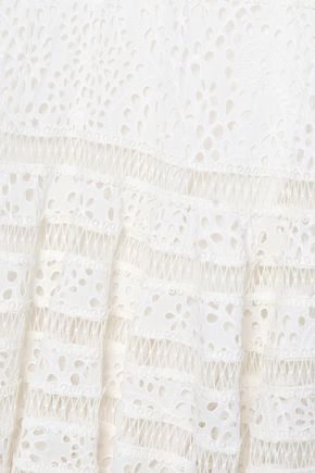 ZIMMERMANN Fluted broderie anglaise cotton midi dress
