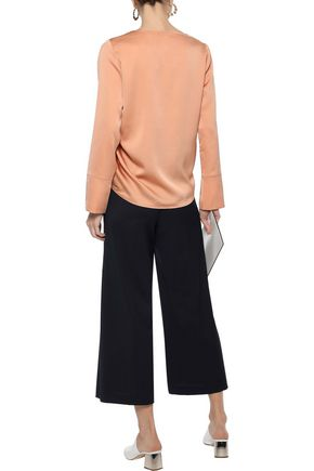 IRIS & INK Andrea ruched hammered-satin blouse