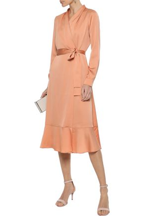 IRIS & INK Jocelyn hammered-satin midi wrap dress