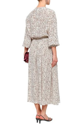 JOSEPH Pleated printed silk crepe de chine blouse