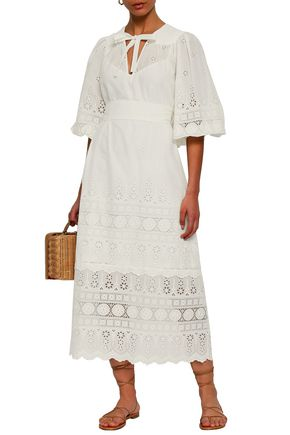 ZIMMERMANN Pussy-bow broderie anglaise cotton midi dress