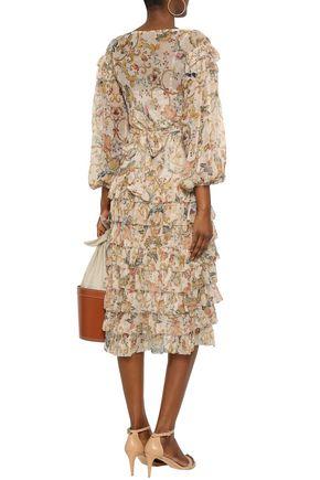 ZIMMERMANN Tiered printed silk-georgette midi dress