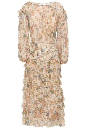 ZIMMERMANN Tiered printed silk-georgette midi dress
