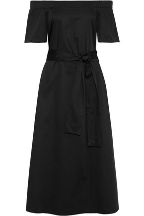 IRIS & INK Eliana off-the-shoulder belted stretch-cotton midi dress