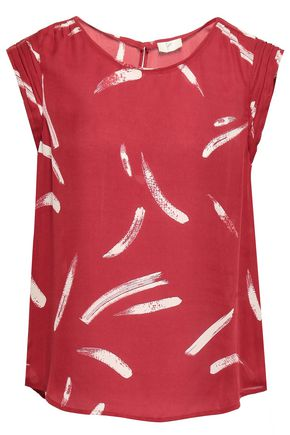 JOIE Printed silk-crepe top