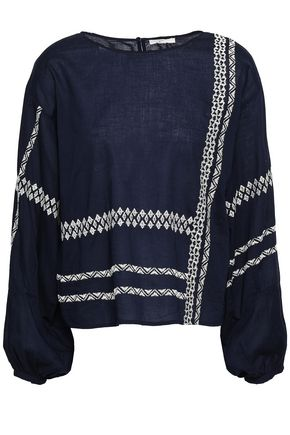 JOIE Isandro embroidered cotton-voile blouse
