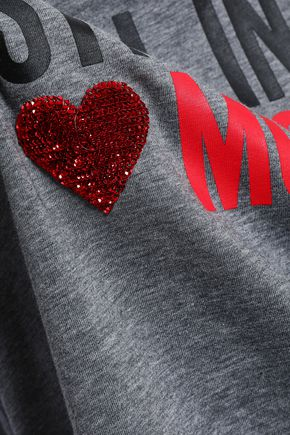 99e44fb7a0 ... LOVE MOSCHINO Sequin-embellished printed cotton-jersey T-shirt ...