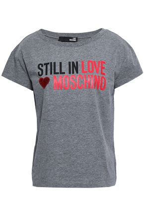 LOVE MOSCHINO Sequin-embellished printed cotton-jersey T-shirt