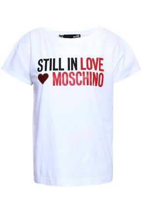 LOVE MOSCHINO Sequin-embellished printed stretch-cotton T-shirt