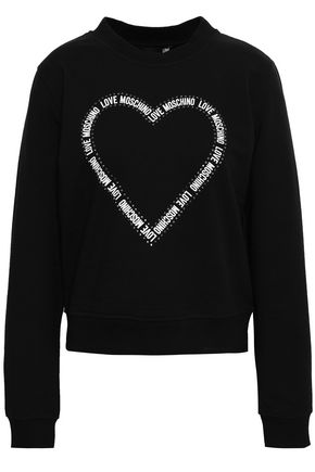 LOVE MOSCHINO Crystal-embellished printed cotton-blend fleece sweatshirt