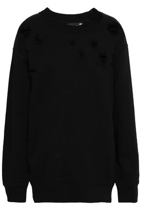 LOVE MOSCHINO Distressed embroidered French cotton-terry sweatshirt