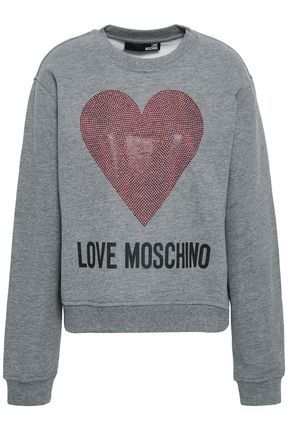 LOVE MOSCHINO Crystal-embellished printed French cotton-blend terry sweatshirt
