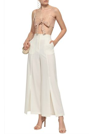 Zimmermann Painted Heart Bow-detailed Striped Linen And Silk-blend Gauze Bra Top In Blush