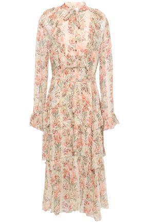 ZIMMERMANN Pussy-bow floral-print silk-georgette midi dress