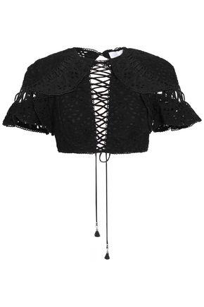 ZIMMERMANN Lovelorn Flutter cropped broderie anglaise cotton top