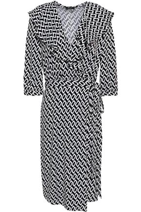 RAOUL Ruffled printed stretch-jersey wrap dress