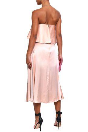 ZIMMERMANN Strapless ruffled washed-silk midi dress