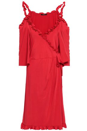 RAOUL Cold-shoulder wrap-effect ruffled sateen dress