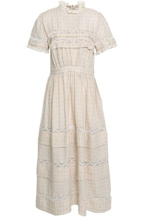 ZIMMERMANN Lace-trimmed linen and cotton-blend midi dress