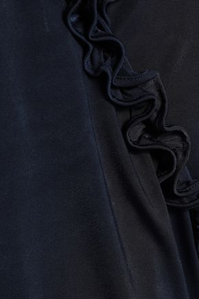 RAOUL Cold-shoulder wrap-effect ruffled sateen dress