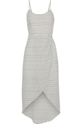 IRIS & INK Clara wrap-effect bow-detailed striped georgette dress