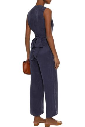 IRIS & INK Aurora wrap-effect washed-twill jumpsuit