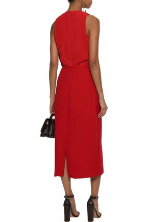 DEREK LAM Pleated silk-paneled crepe midi dress