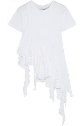 MARQUES' ALMEIDA Asymmetric ruffled cotton-jersey top