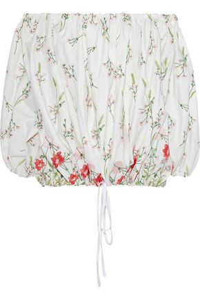 MARQUES' ALMEIDA Off-the-shoulder embroidered cotton-blend top