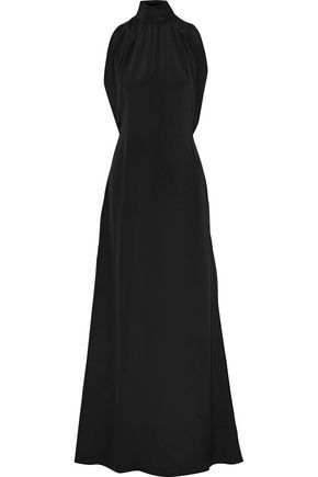 DEREK LAM Gathered silk crepe de chine turtleneck gown