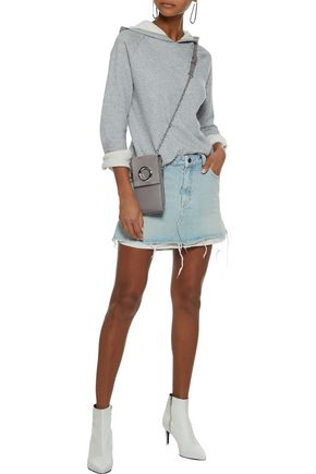 ALEXANDER WANG Striped jacquard-paneled distressed denim mini skirt