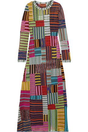 MISSONI Patchwork-effect metallic crochet-knit maxi dress